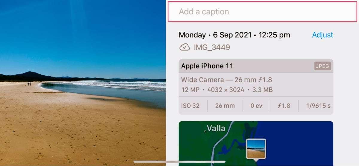 iOS Image Captions